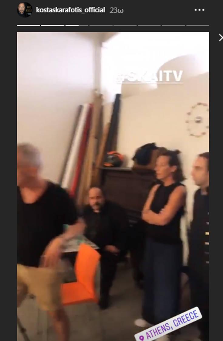 Ο Κώστας Καραφώτης στο πλευρό του Αλέξανδρου Ρήγα λίγο πριν μπει στο νοσοκομείο